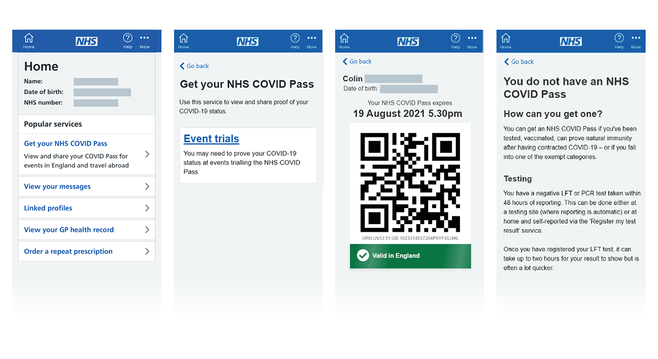 Example of an NHS Covid Pass